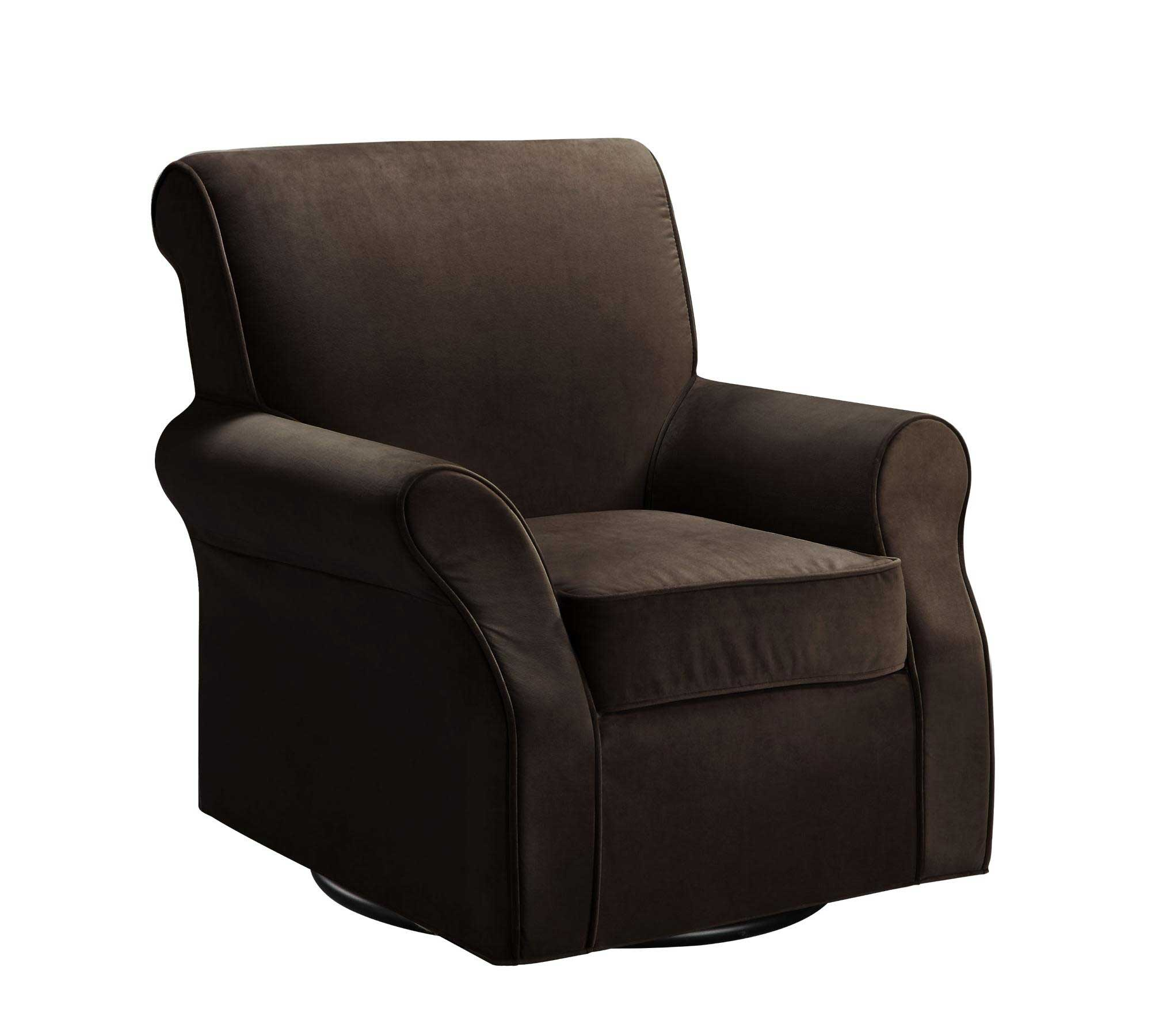 Deep Brown Bergamo Microfiber Ergonomic Swivel Glider