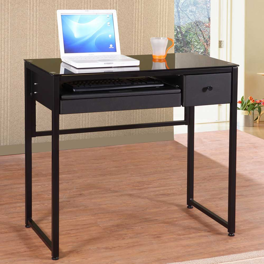 Europa Black Glass Computer Desk with Side Drawer