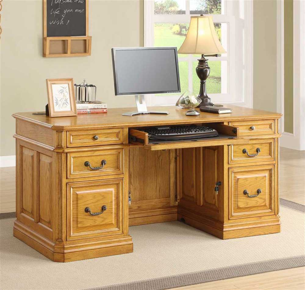 Executive Oak Finish Personal Computer Desk
