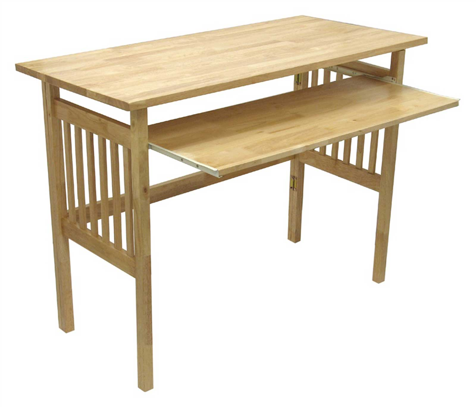 Folding Computer Desk with Natural Wood Finish