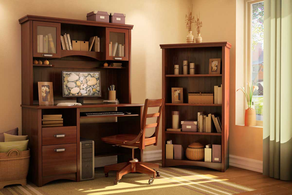 Gascony Sumptuous Cherry Computer Table with Hutch