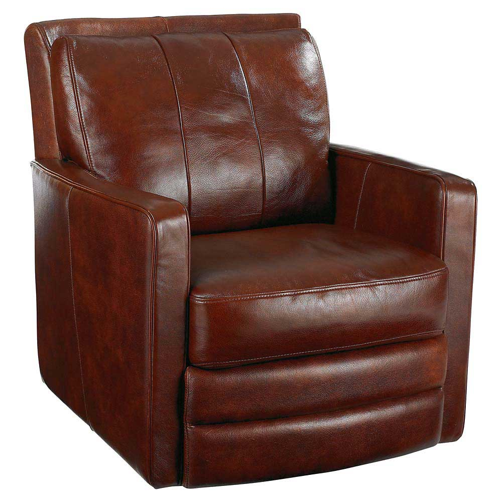 Genuine Brown Leather Swivel Sofa from Bassett Furniture