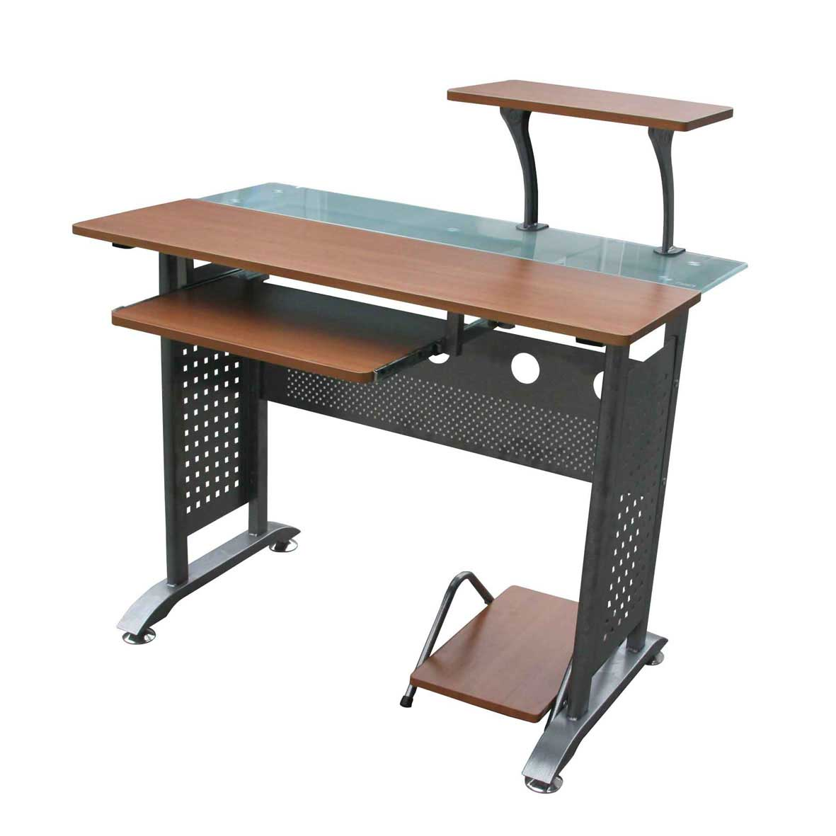 Glass and Wooden Computer Desks with Keyboard Tray