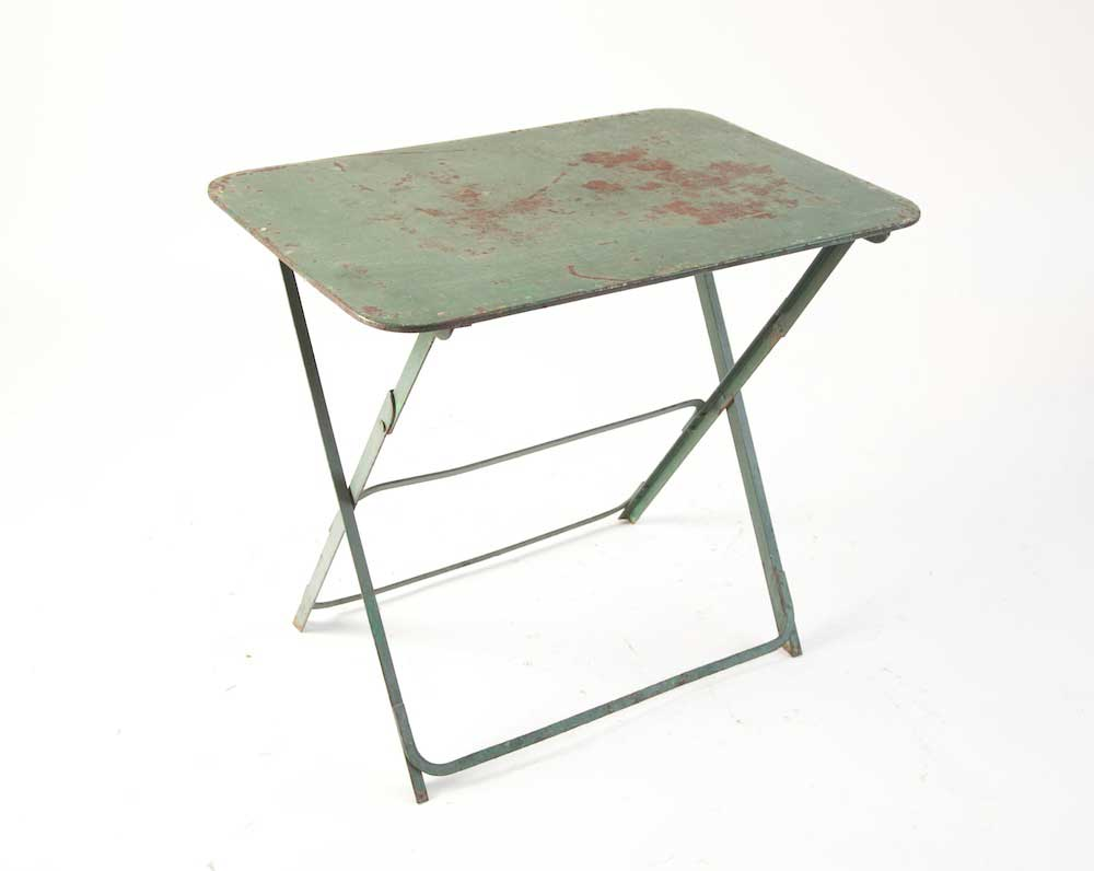Green metal rusted patina small folding table