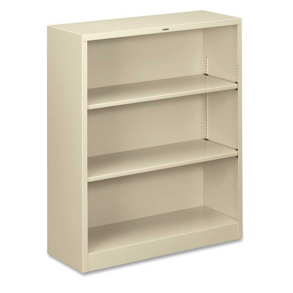HON three shelves metal bookcase in white