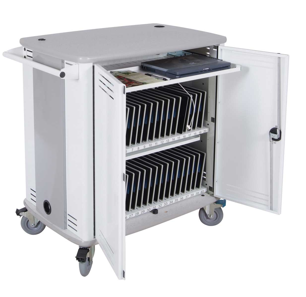 InTouch40 White Computer Tablet Desk Cart