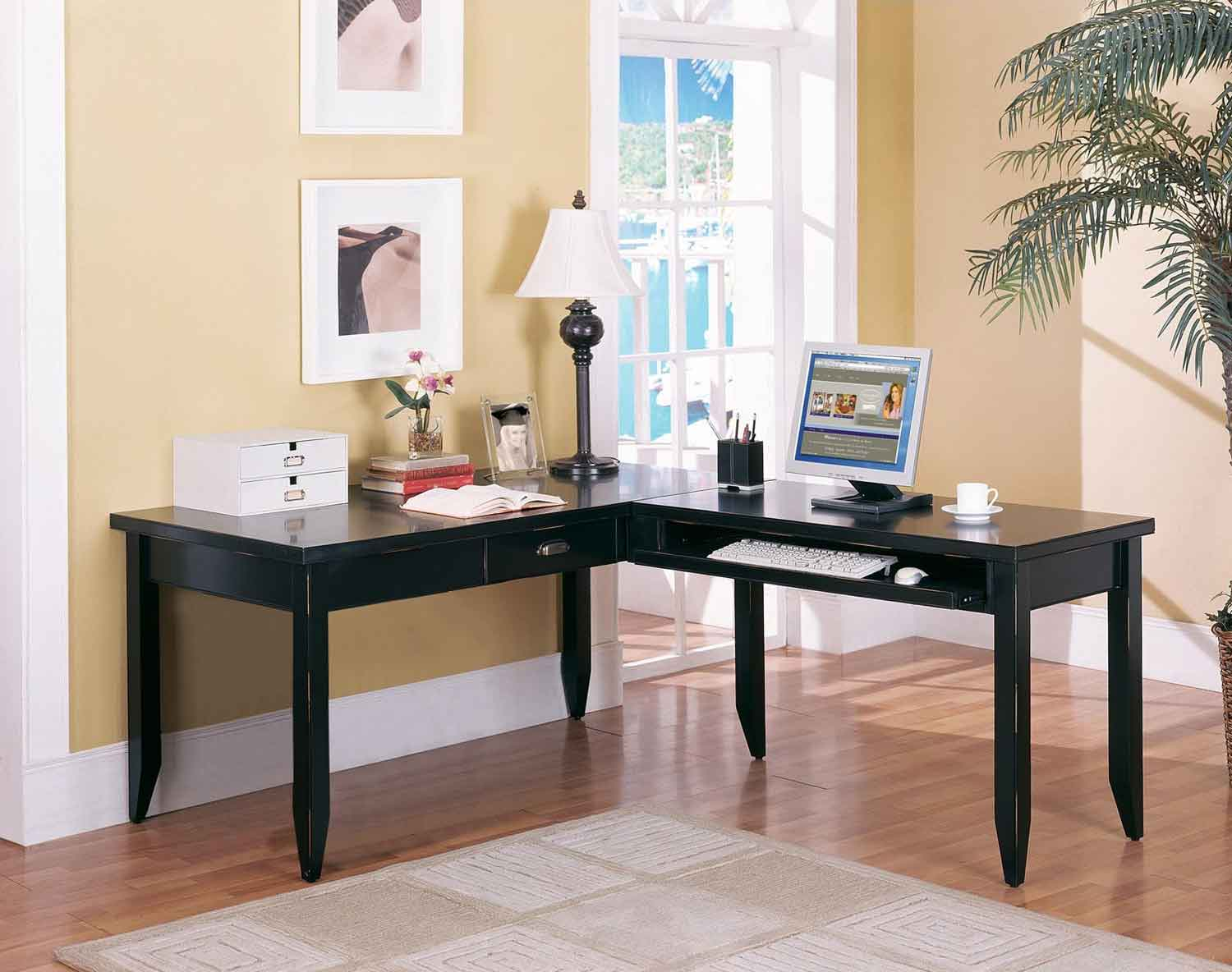Kathy Ireland Tribeca Loft Black L Shaped Personal Writing Corner Desk