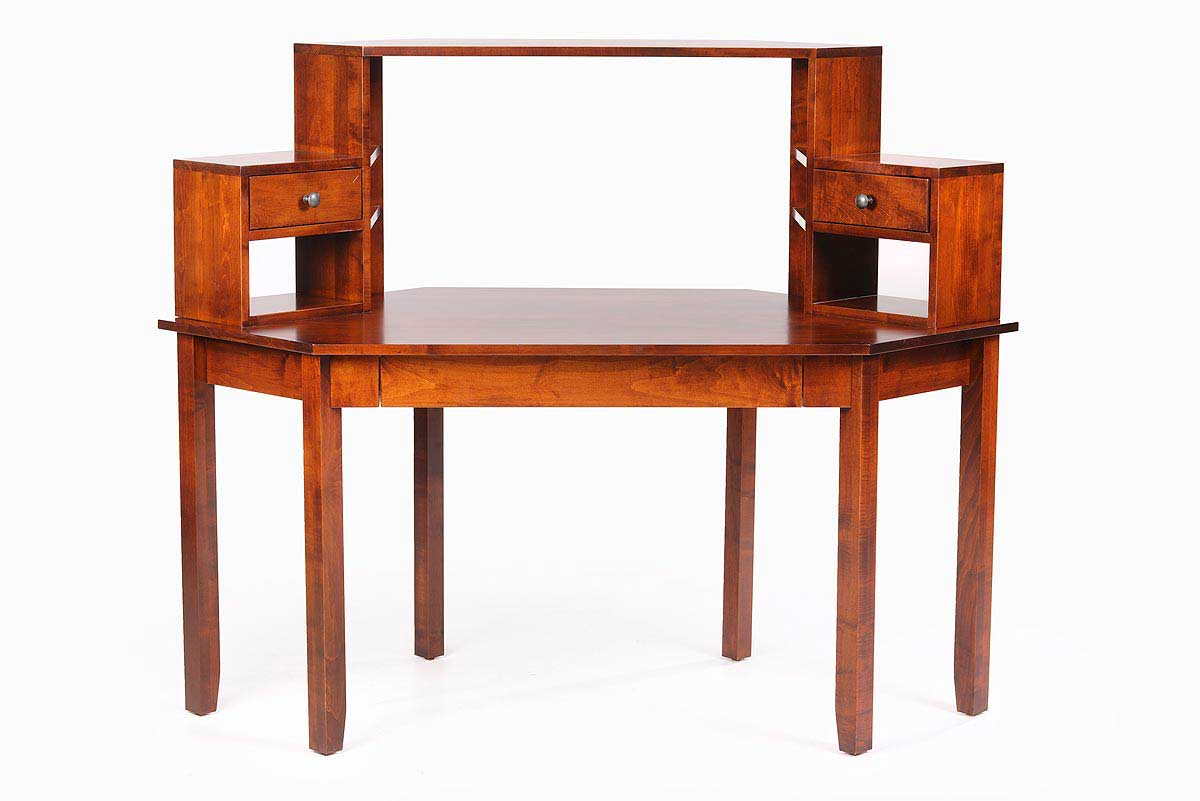 Kork Cherry Corner Desk with Double Hutch