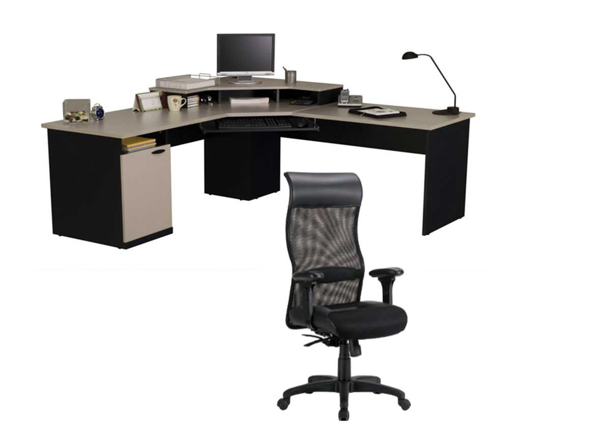 L-Shape Corner computer desk and ergonomic chair
