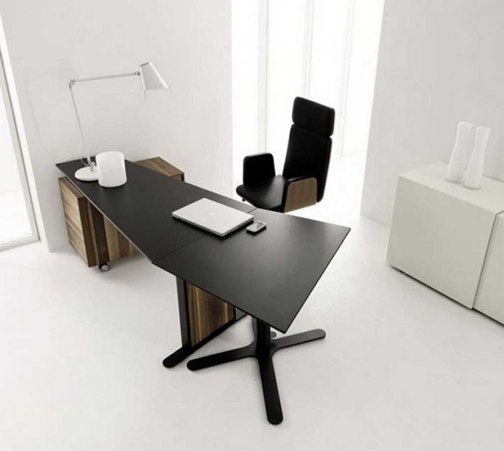 Laminate black office desks for executive