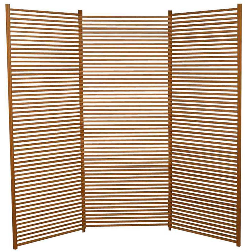 Lilac Decorative Tri Fold Bamboo Slats Divider Screen