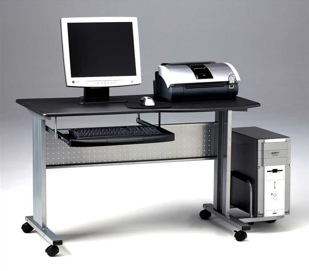 Mayline Black Mobile Computer Desk with CPU Shelf