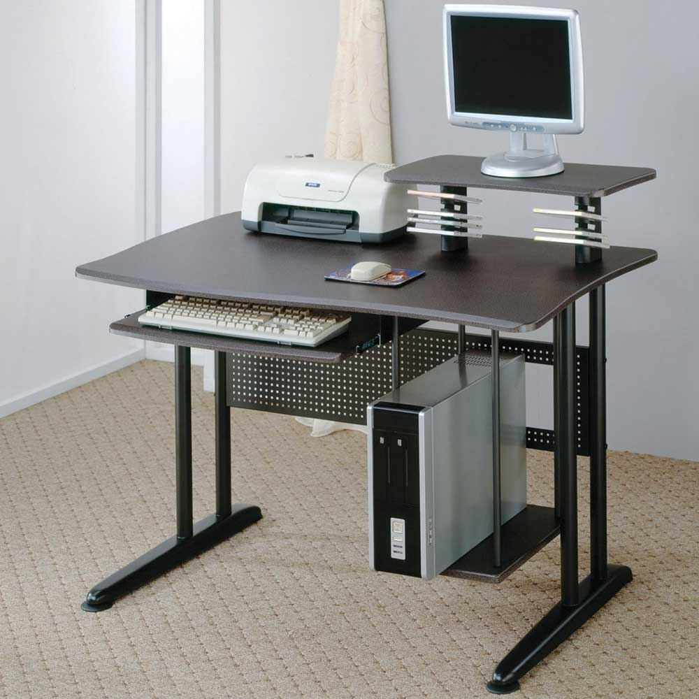 Metal Computer Desk with Computer Storage and Keyboard Tray