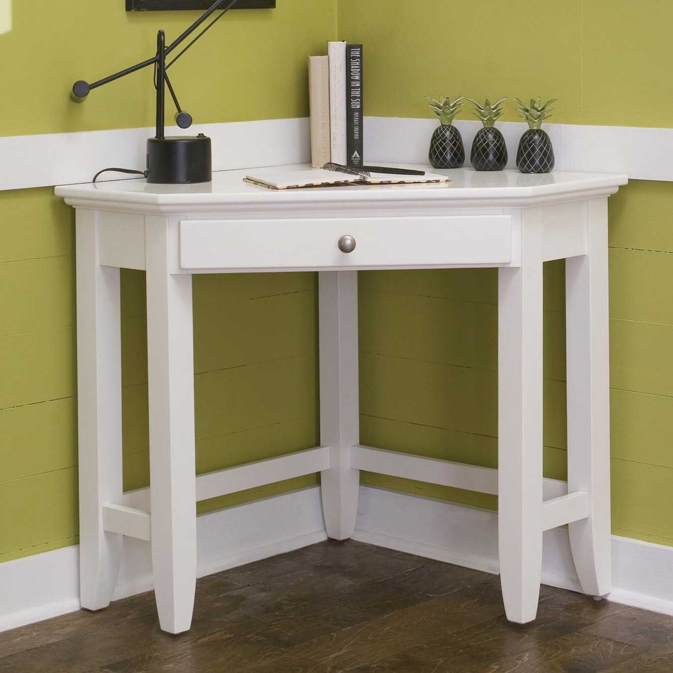Minimalist White Laptop Corner Desk