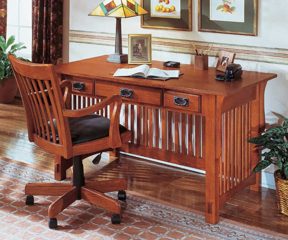 Mission Oak Office Desk with Chair and Drawer