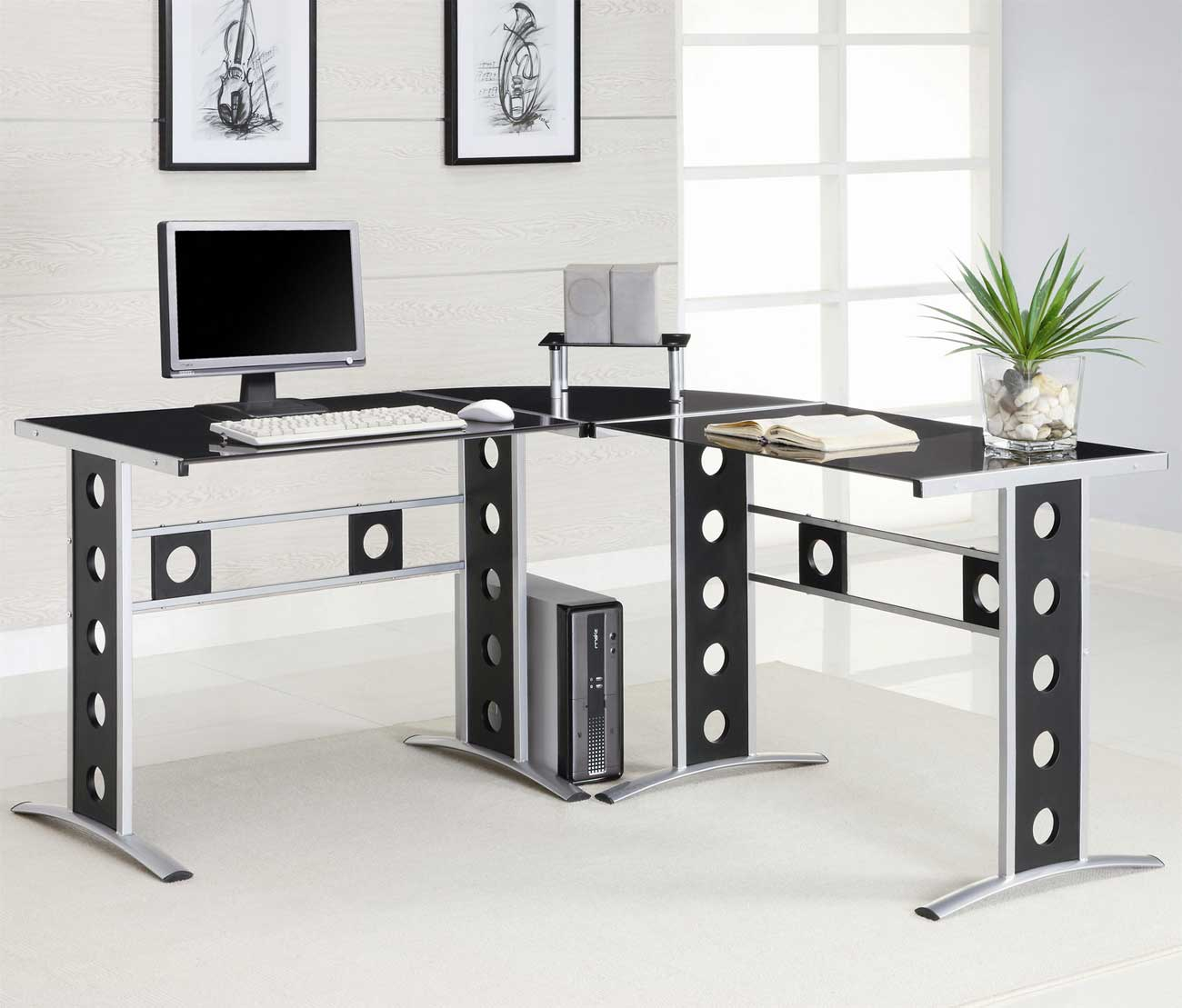 Modern L-Shape and Silver Frame Black Glass Desk