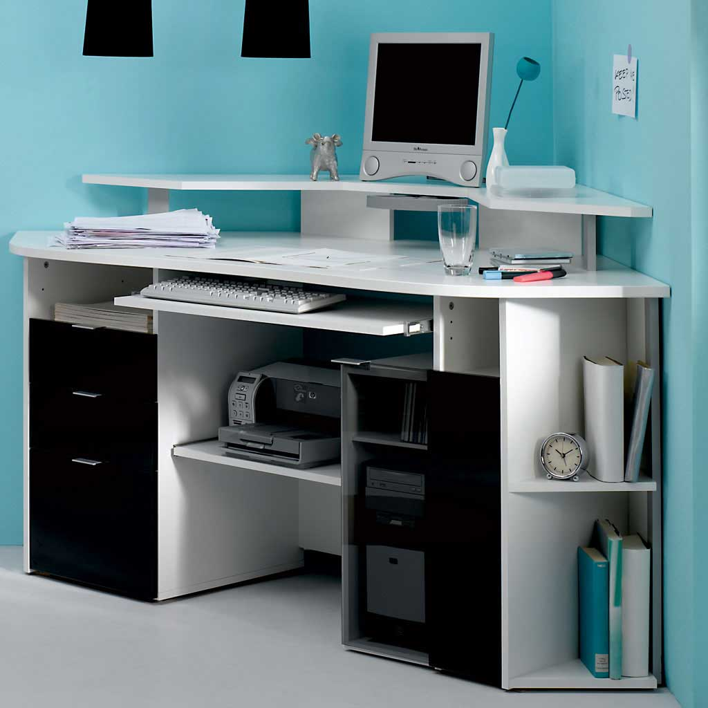 Modern White Corner Big Computer Table