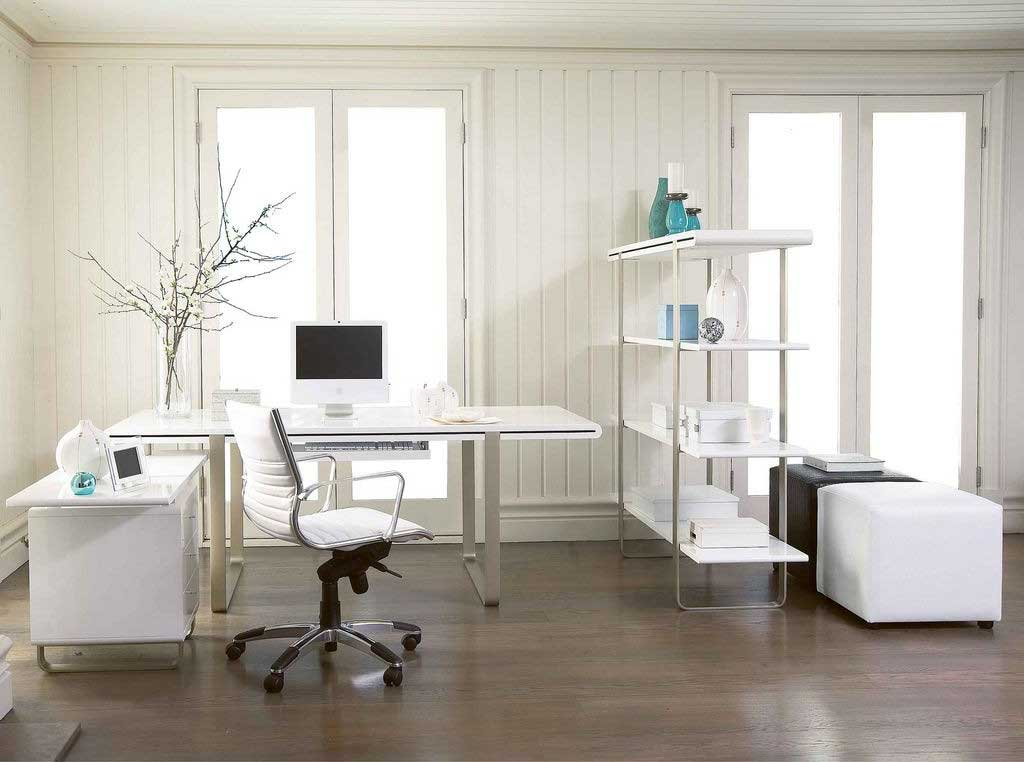 Modern and stylish white computer desk with small cabinet