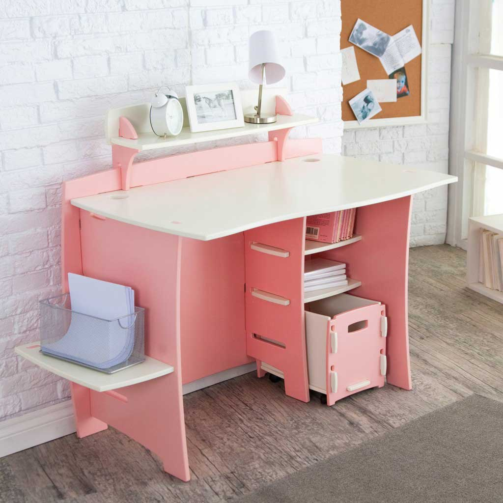 Modern pink computer workstation cart for kids
