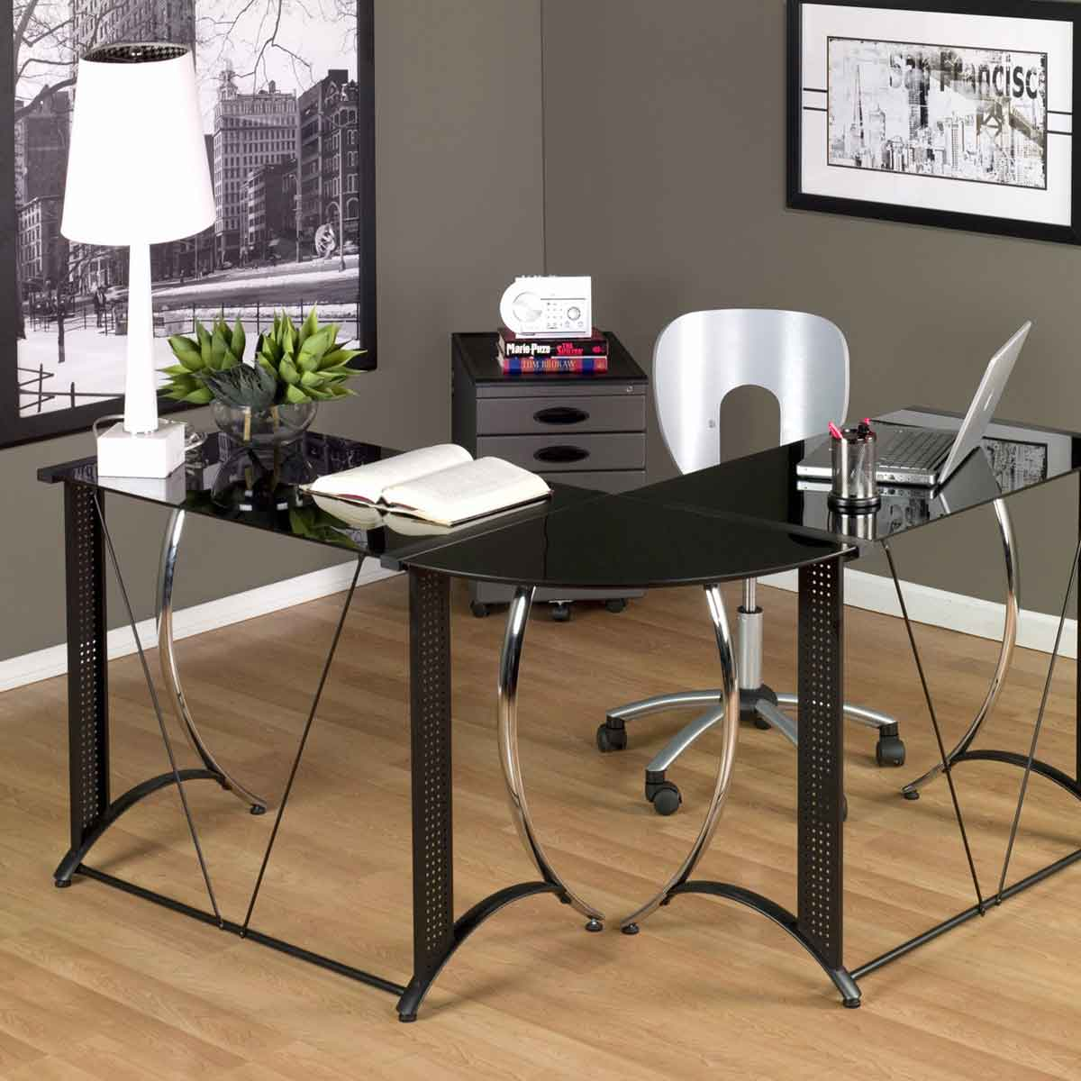 Monterey Glass Chrome and Black L-Shape Desk