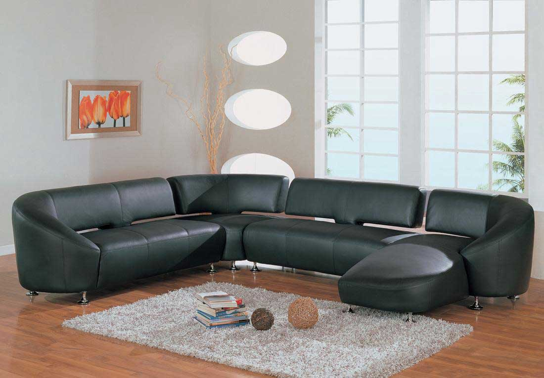 Natural Green Leather Sofa with Sectional Feature