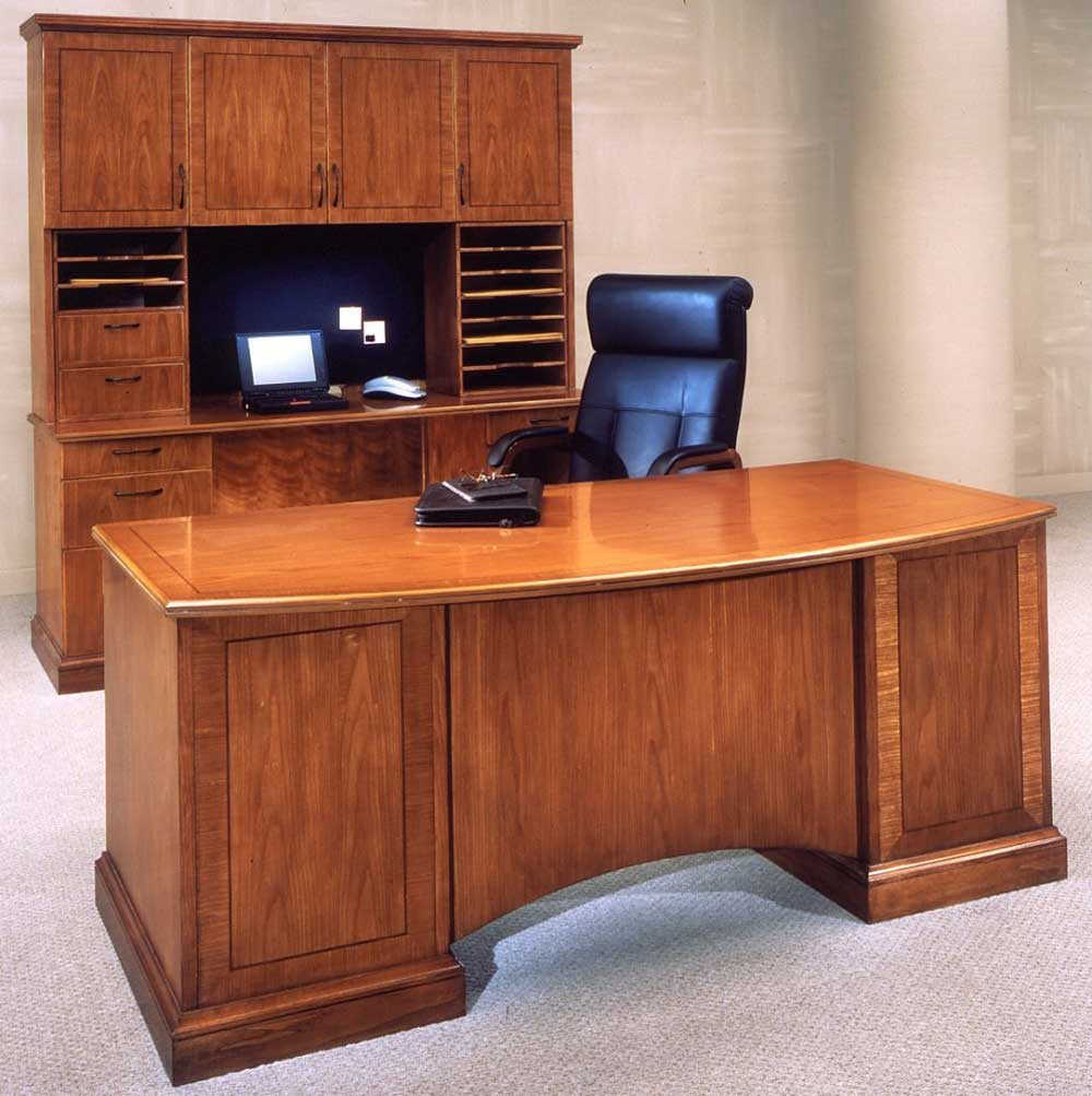 Oak Credenza Executive Desk with Chair