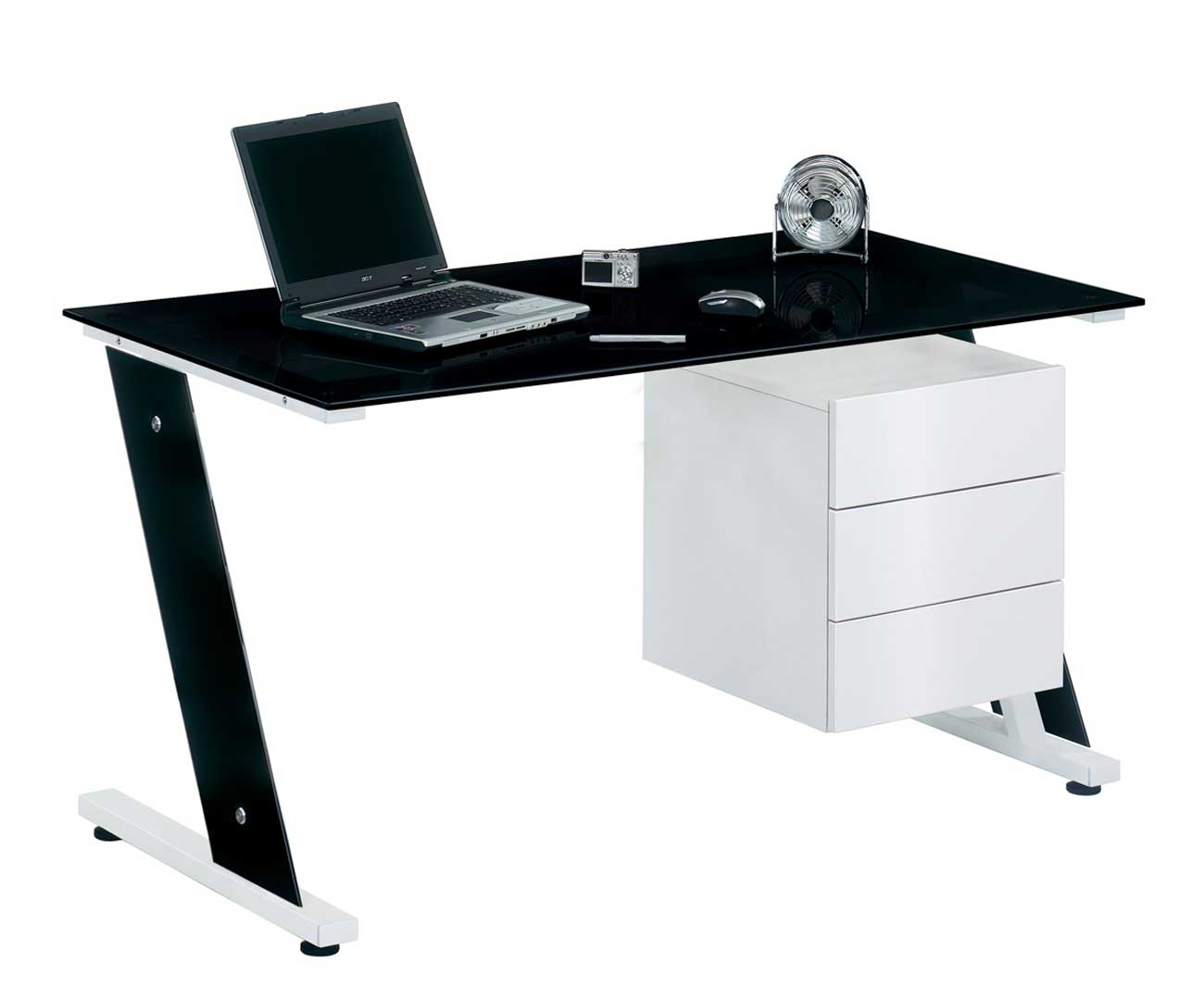 Office Orb Black Glass Desk with Cabinet