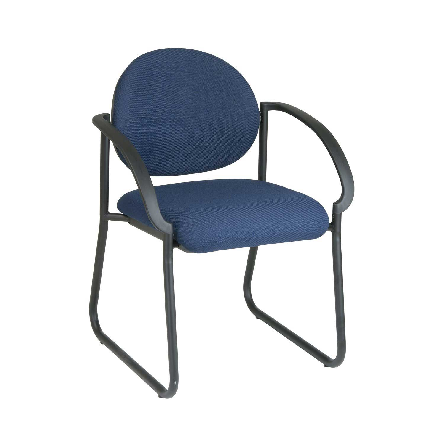 Office Star Blue Stacking Chair with Deluxe Sled Base