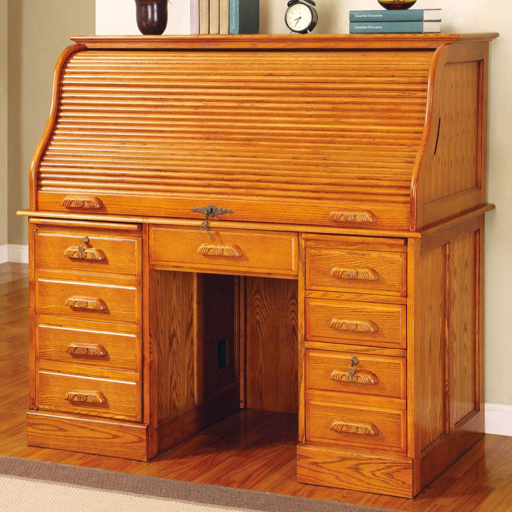 Palmetto Elegant Roll Top Solid Oak Computer Desk