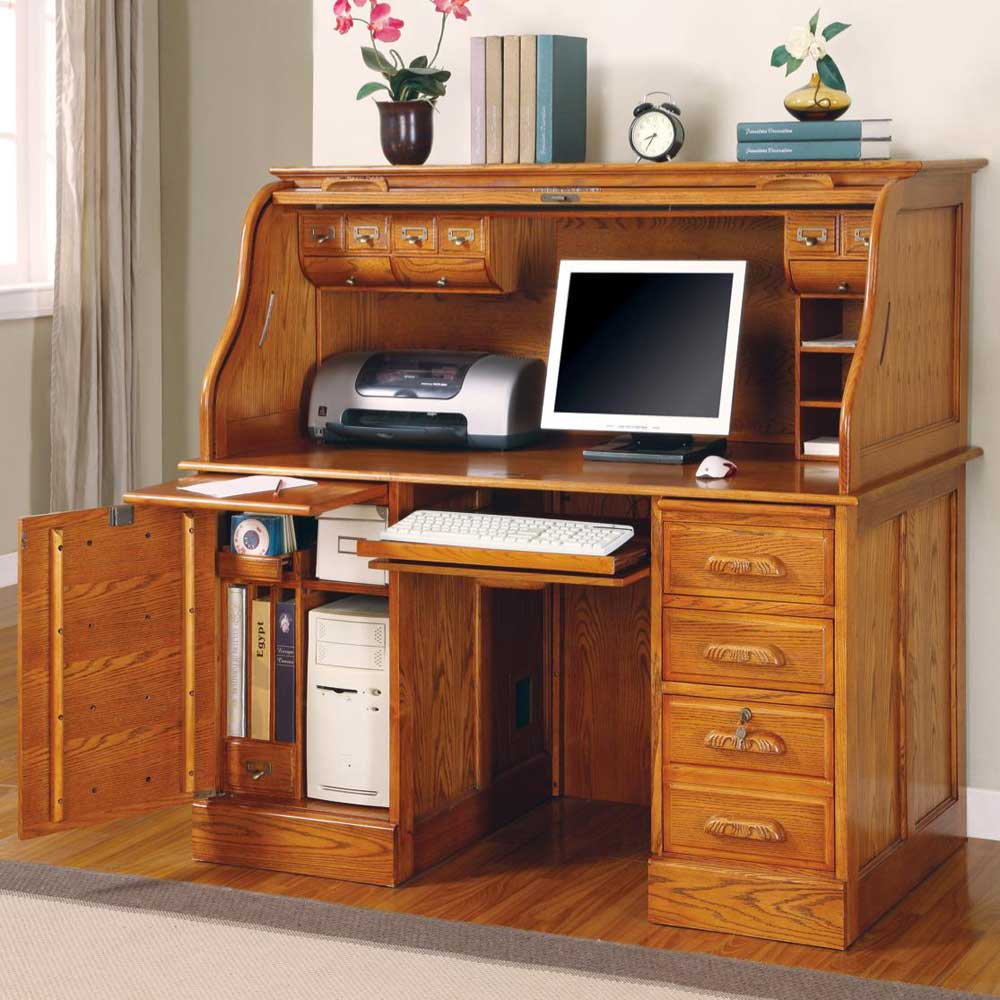 Palmetto Roll Top Deluxe Solid Oak Computer Desk