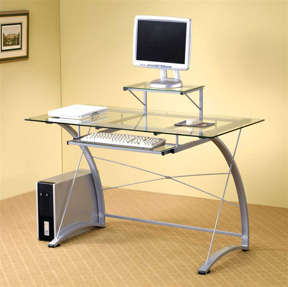 Pewter Tone Finish Computer Desk with Glass Top