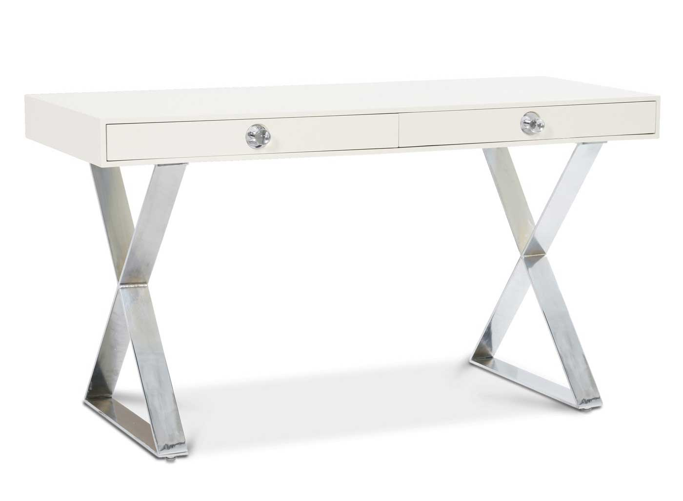 Pure white secretary desk with metal legs and 2 drawer
