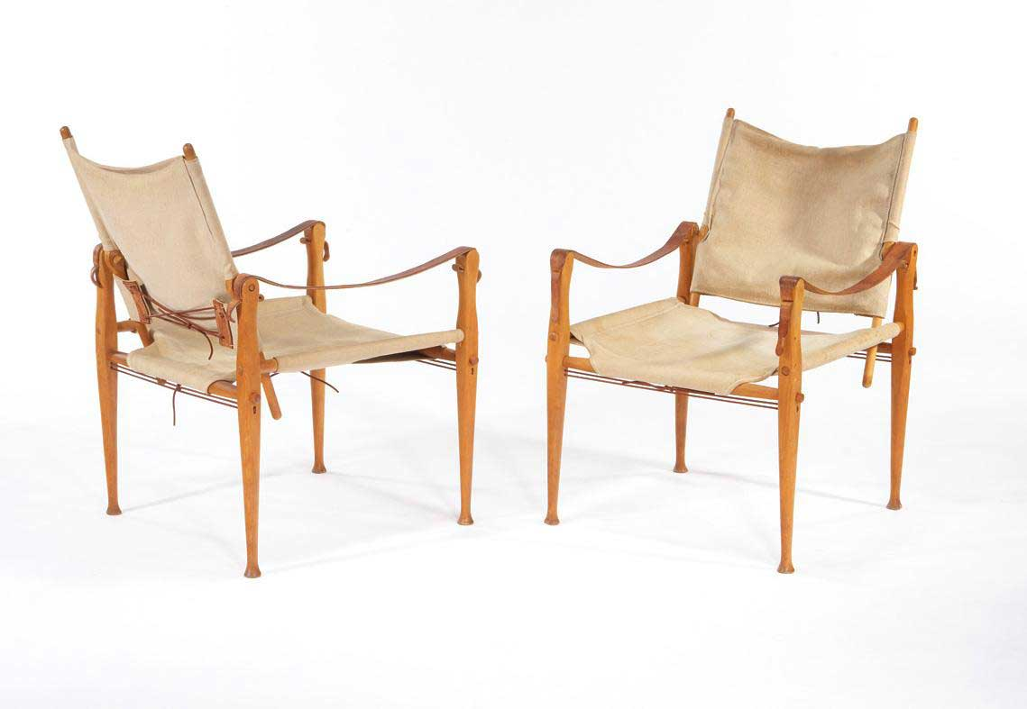 Rasmussens Snedkerier leather and Canvas folding chair