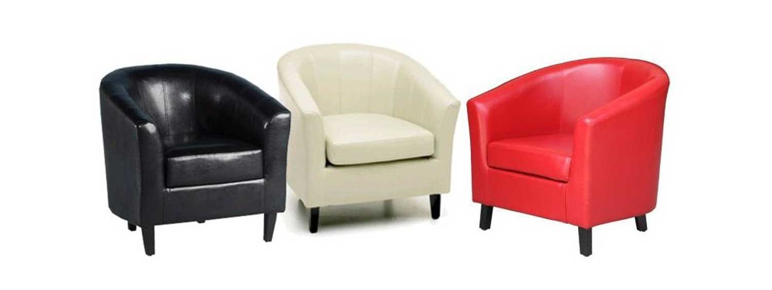 Red White Black Tub Chair in Leather