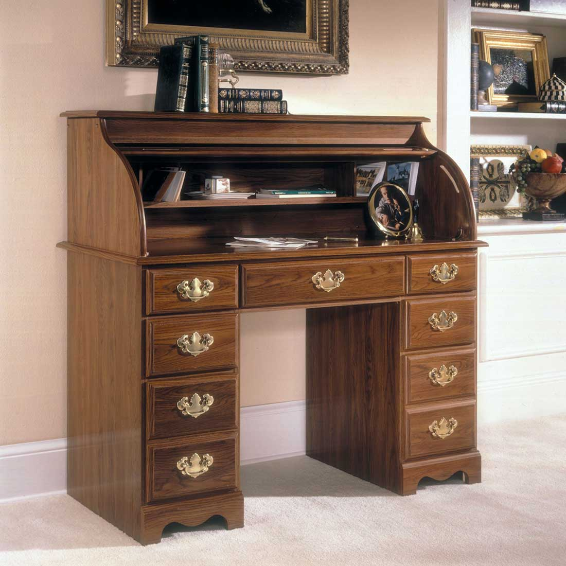 Riverside Traditional Dark Oak Roll Top Writing Desk