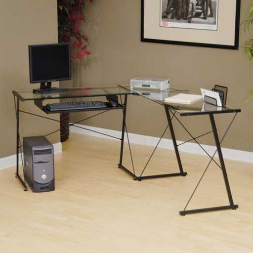 Sauder Office Reversible Tempered Glass Computer Desk