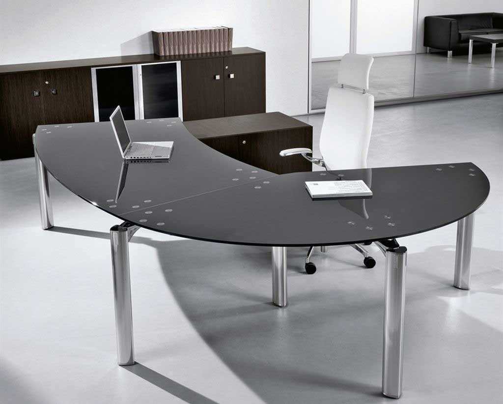 Stylish executive black glass desk office furniture