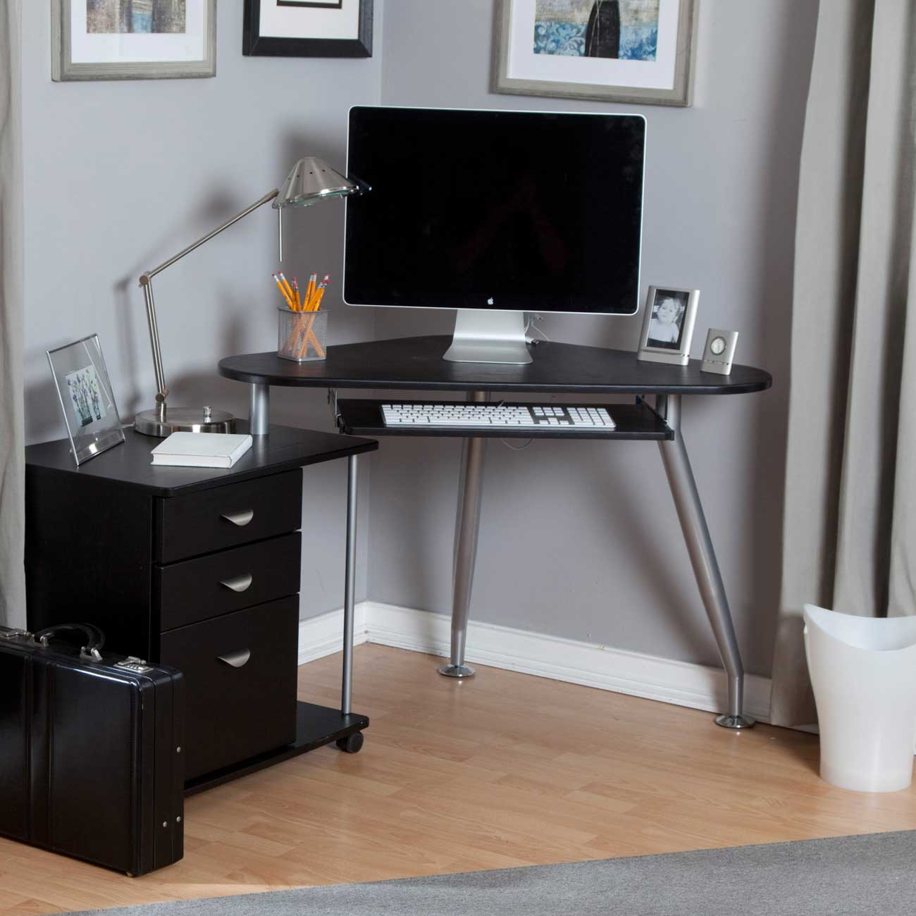 Toppline Corner Computer Desk with Rotating File Cabinet and Compact Design