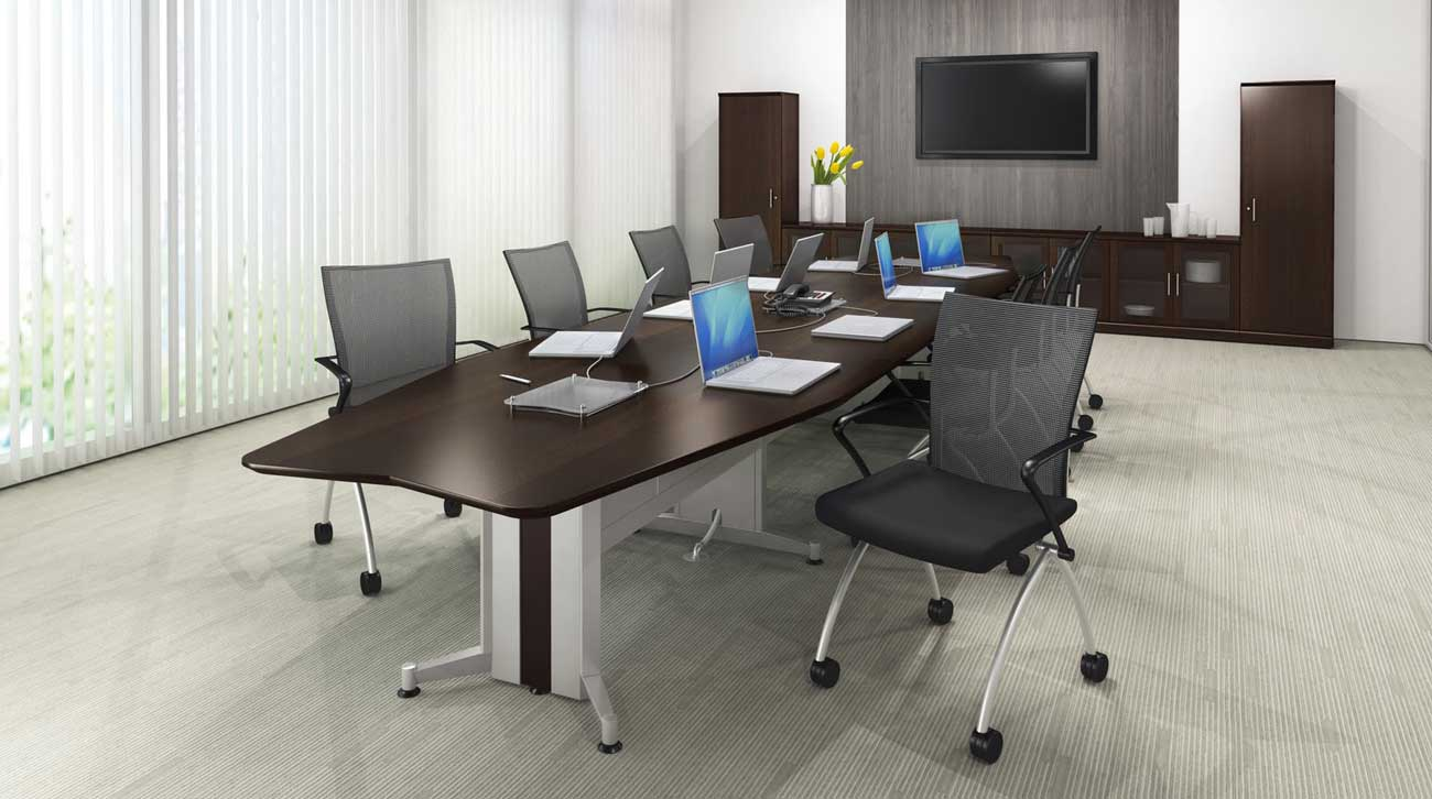TransAction Solid Wood and Metal Conference Presentation Tables