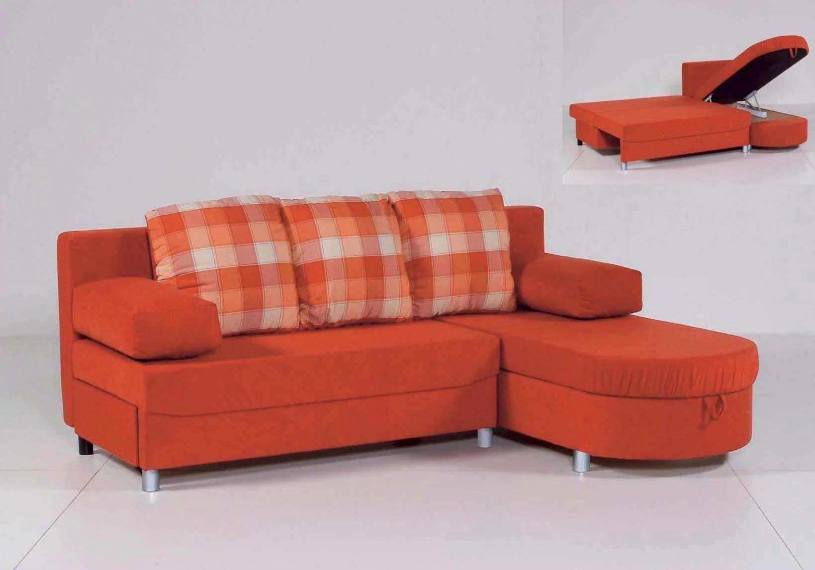 Twin Orange Sleeper Sofa Bed with Pillow