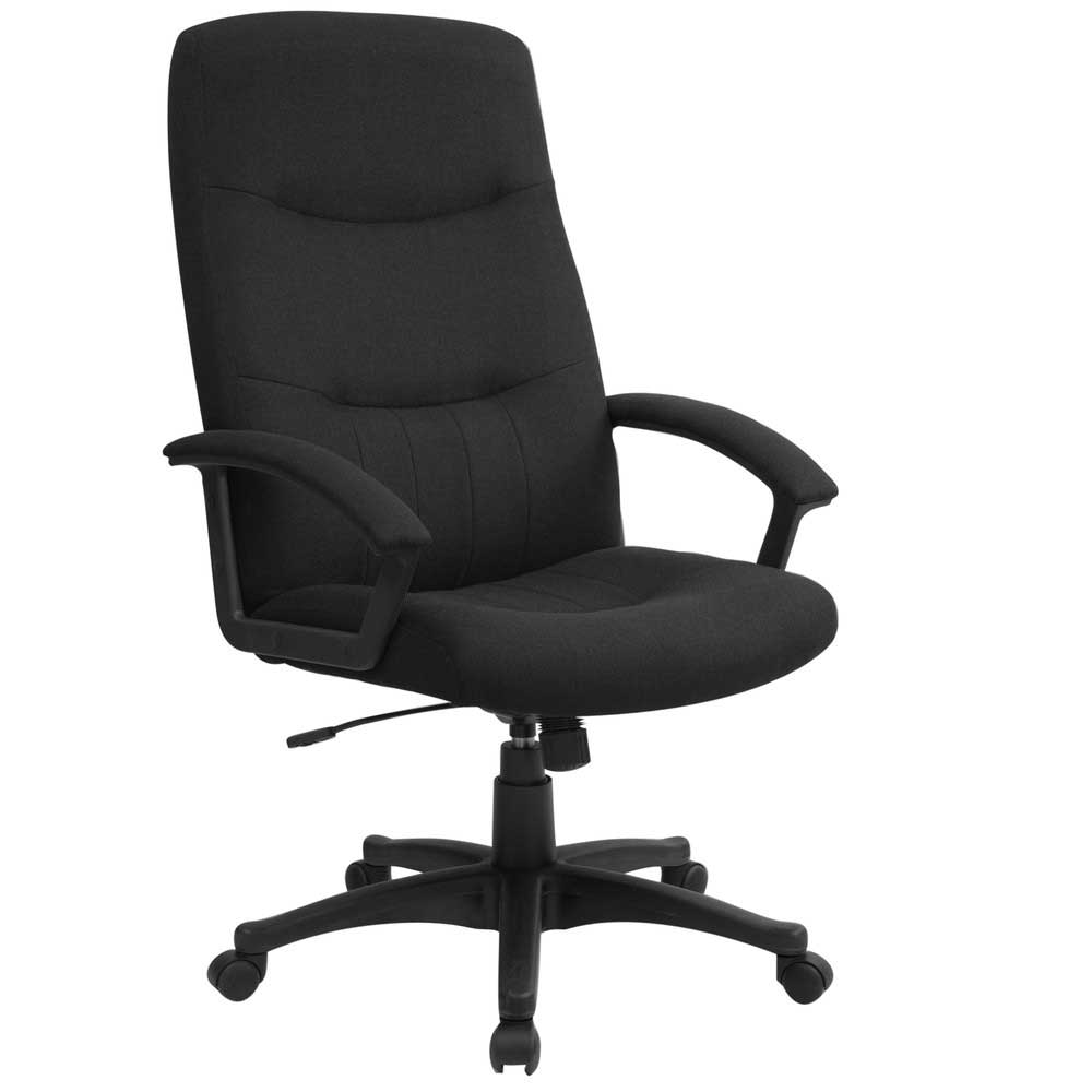 Upholstered Black Fabric Executive High Back Swivel Desk Chair