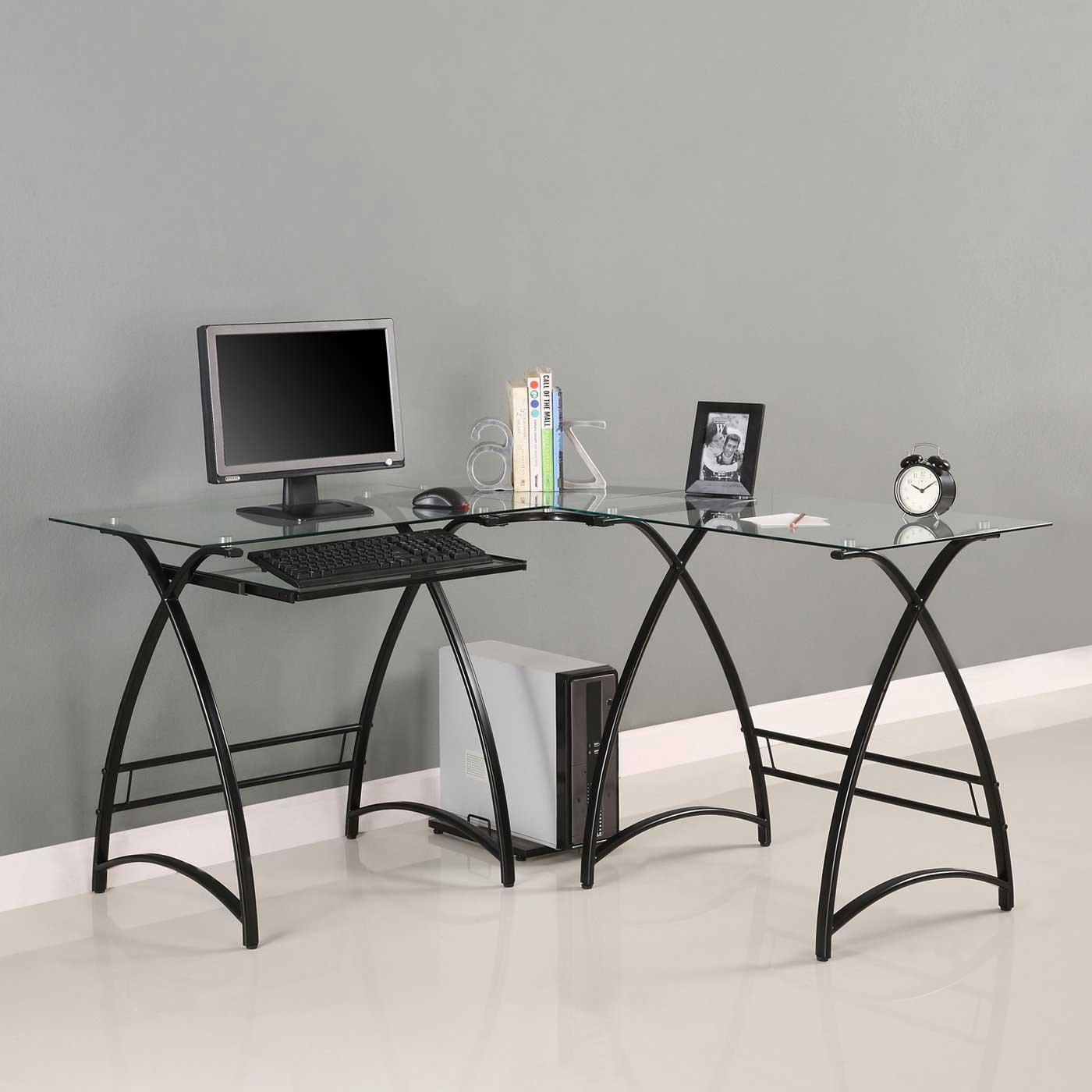Walker Edison L-Shaped Black Glass Office Computer Desk