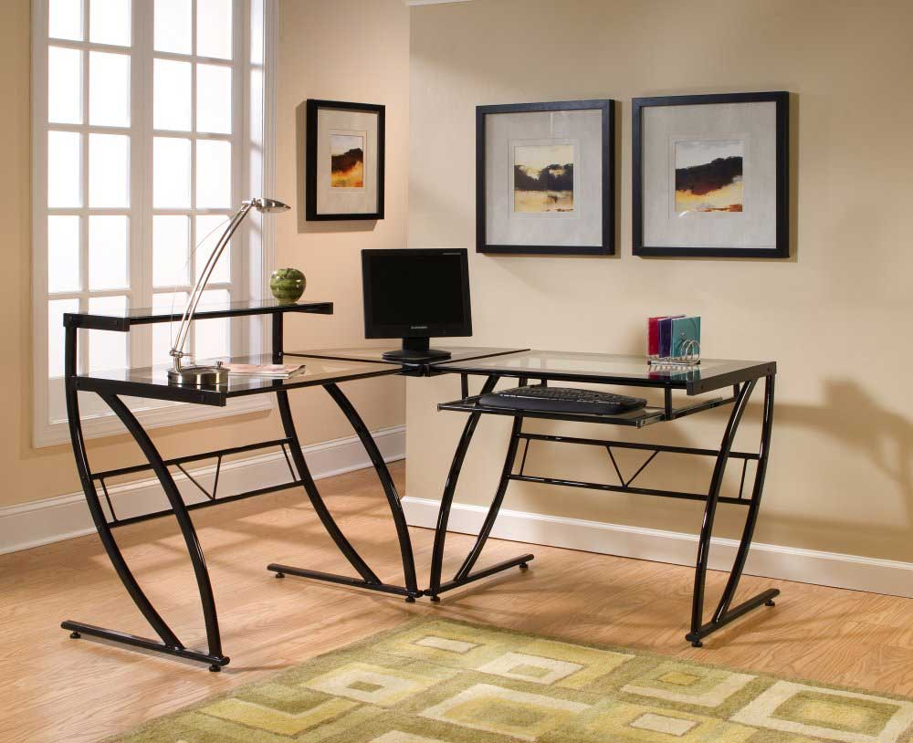 belaire z-line glass l-shaped black computer desk