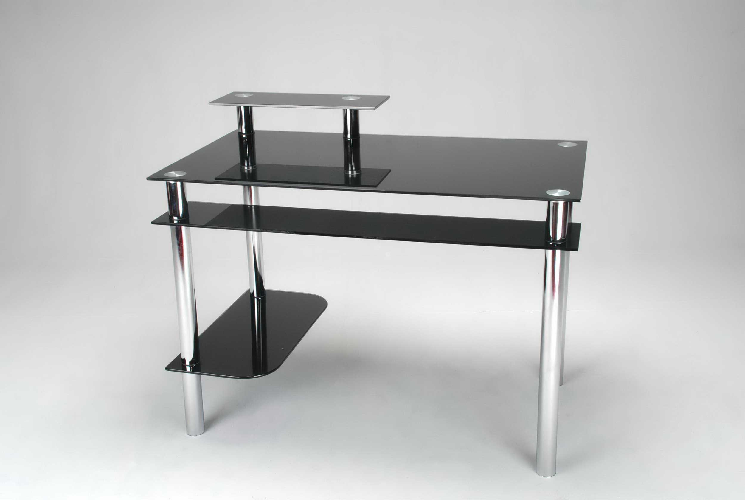 black glass computer desk with CPU Stand