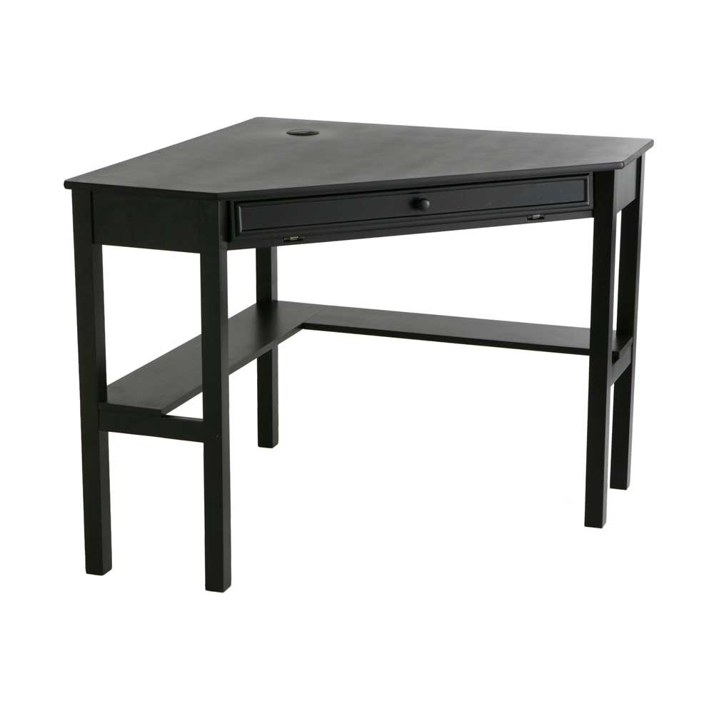 black wooden computer desk for room corner
