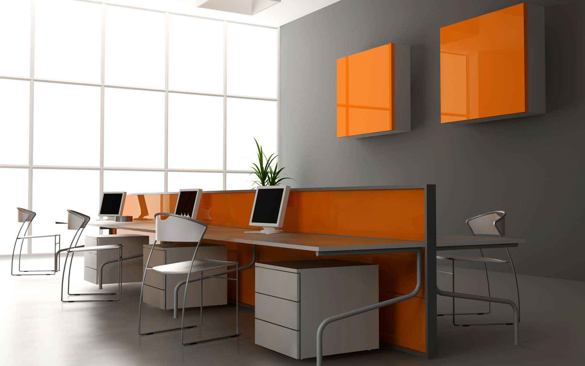 corporate computer office desk and chairs