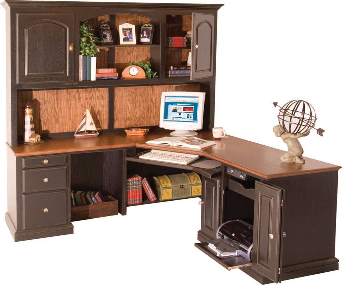 custom oak corner desk with hutch and cabinet