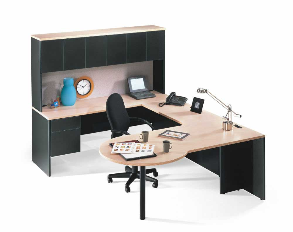 executive penninsula corner computer workstation with hutch