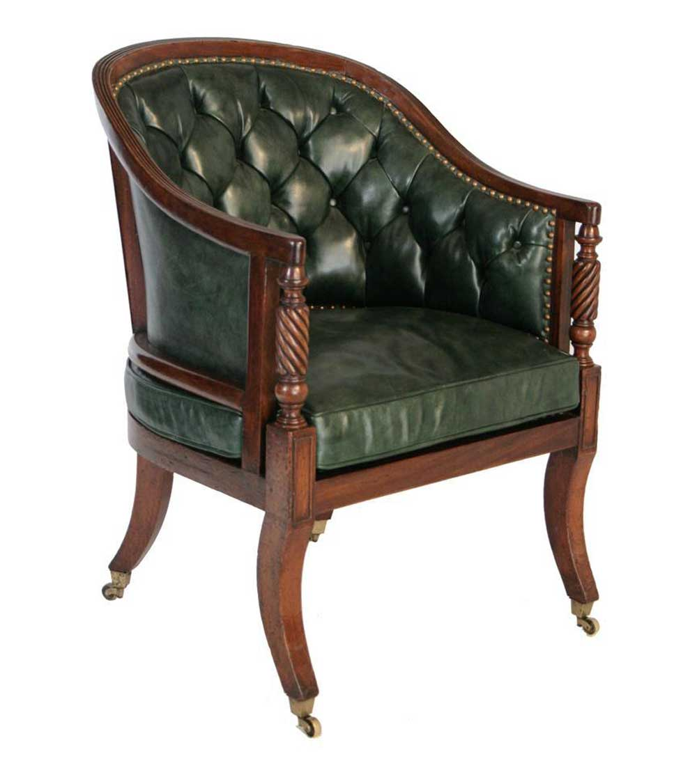 green button tufted leather mahogany upholstered tub chair