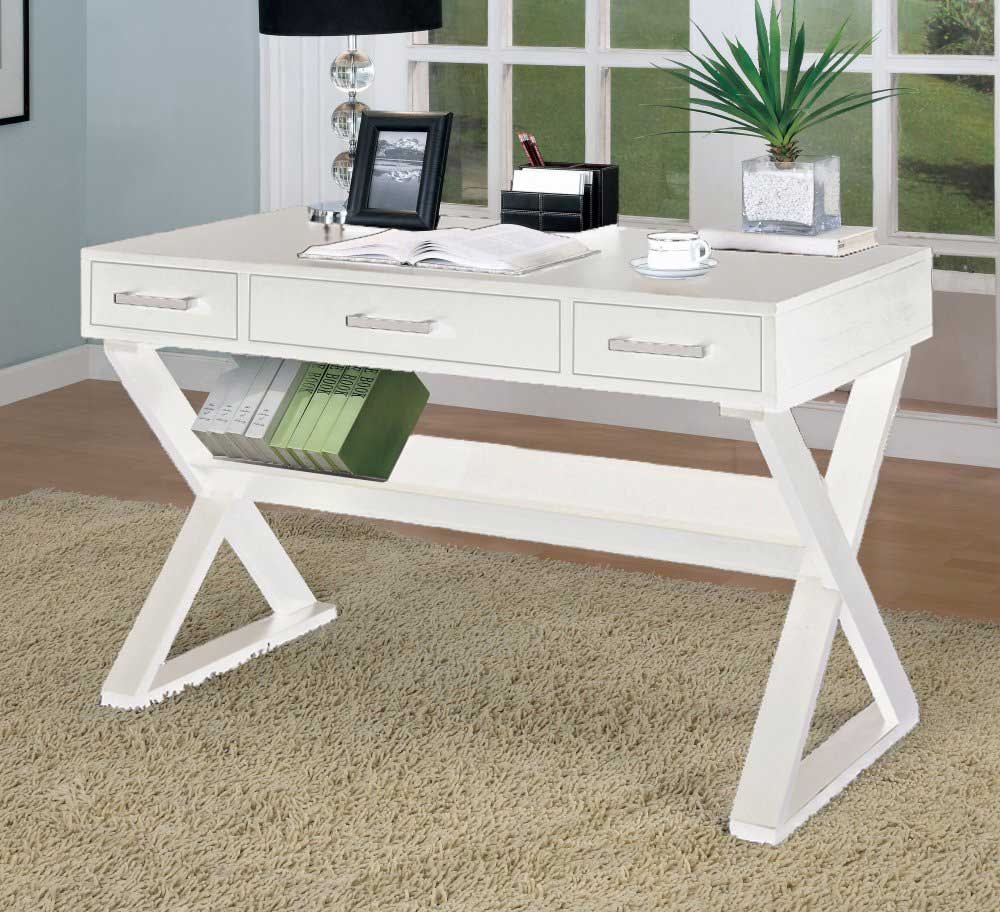 home office pure white desk with 3 drawers